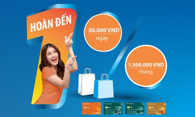 Sacombank hoàn tiền cho chủ thẻ thanh toán