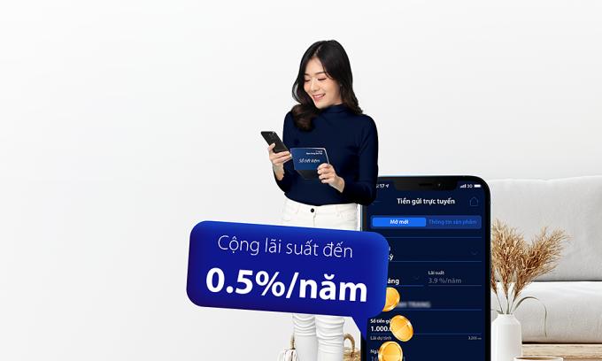 Gửi tiết kiệm online trên Digimi nhận thêm 0,5% lãi suất